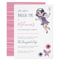 Cute Watercolor Fairy & Butterfly Birthday Party Card