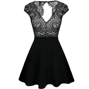 Women V-Neck Cap Sleeve Crochet Lace Backless A-Line Skater Cocktail Dress