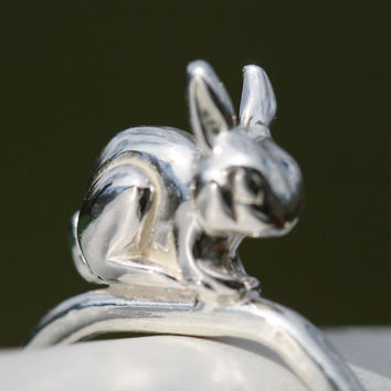 Rabbit Ring  , Sterling Silver Bunny Ring ,  US Size 4.5 , Critter Ring  by Maggie McMane Designs