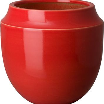 Large Bella Orchid Vase With A Coral Red Glaze