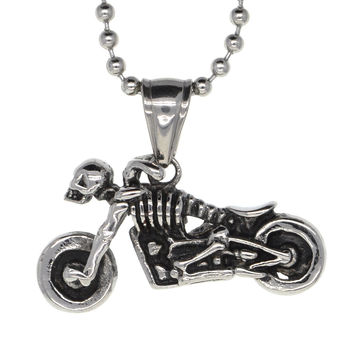 Dear Deer Stainless Steel Ghost Rider Skull Motorcyle Medallion Pendant Necklace