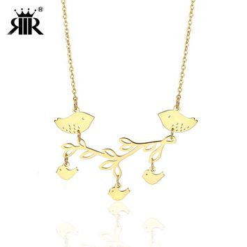 RIR Stainless Steel Animal Love Bird Pendant Necklace Parent And Baby Bird on a Branch Meaningful Mother Day Gifts For Women