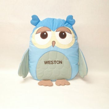 Organic baby toy owl stuffed - Personalized Owl Pillow - Sweet Heart Owl Baby Shower - HET -