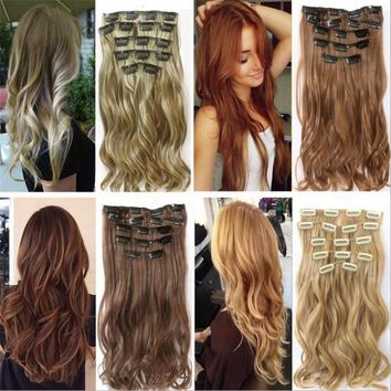 Soowee 7pcs/set Long Curly Black Gray Women Hair Synthetic Hair Clip In Hair Extension Full Head Hairpiece Cabelo