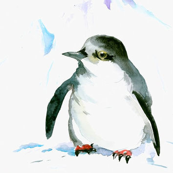 Cute Penguin  original watercolor painting