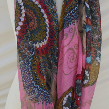 Pink Infinity Scarf Multicolor Feather Scarfs Gifts for Mom - By PiYOYO
