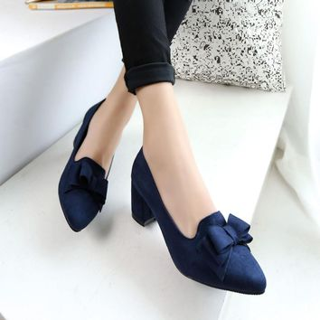 Candy Color Women Pumps Shallow Color Women's Bowknot Suede Block Thick High Heels Shoes Bowtie Working Shoes