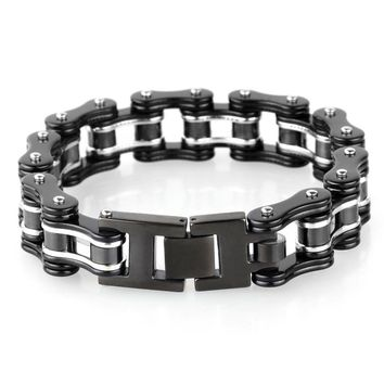 Fashion Men Bike Chain Bracelet Silver Black Titanium Steel Link Bicycle Bike Chain Bracelets Jewelry For Men Friend Gift