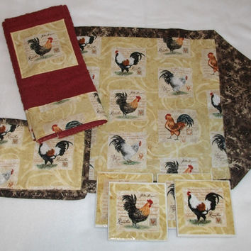 Fall Roosters Table Runner, Mug Rugs, Kitchen Towels or Ceramic Coasters, Chickens, Roosters