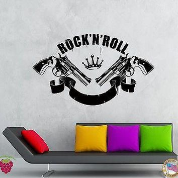 Wall Stickers Vinyl Decal Rock`n`Roll Music Guns Revolvers Rock Decor Unique Gift (z2142)