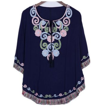 Traditional Mexican Embroidered Vintage Ethnic Floral Boho Blouse