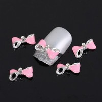 YESURPRISE Special Pink Bow Tie 10 pieces Silver 3D Alloy Nail Art Slices Glitters DIY Decorations