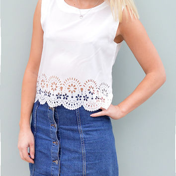Laser Cut Tunic Top in White