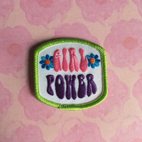 Vintage Girl Power iron on patch/ scrapbooking embellishment