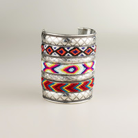 Wide Silver Tribal Cuff Bracelet - World Market