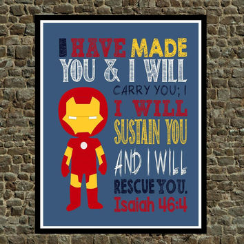Ironman Christian Superhero Wall Art - Nursery, Play Room, Kid's Room, Child's Room Decor - Isaiah 46:4 - I Have Made You...