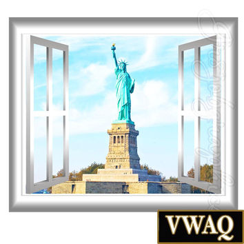 Statue of Liberty New York 3D Window Frame View Wall Mural Peel and Stick Decal VWAQ® GJ94