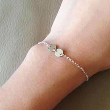 Mini initial - Tiny silver coin disc , initial bracelet . personalized bracelet