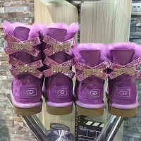 UGG Hot style wool queen diamond bow ultra female beauty with thick warm ugg boots two style Purple