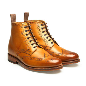 Grenson Sharp Leather Brogue Boot in Tan
