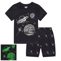 Little Boys Short Pajamas Sets Glow in The Dark Toddler PJS Cotton Kids Sleepwears