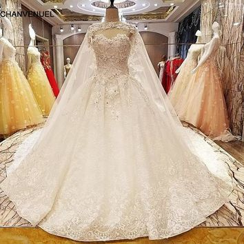 LS7051 wedding dresses germany beading ball gown lace up back O neck lace wedding gowns with long lace cape real photos
