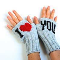 Fingerless Gloves. Fashion 2012. Girls Women. Valentines Day. Love. Gray Color. Red. Black. I Love You. Mother's Days