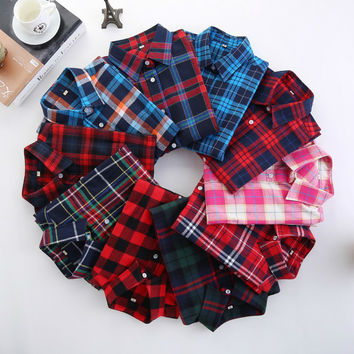 Plaid Shirt Female College style women's Blouses Long Sleeve Flannel Shirt Plus Size Cotton Blusas Office tops