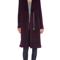 T by Alexander Wang Long Car Coat in Burgundy