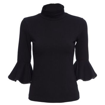 Simple Stand Collar Flare Sleeve Solid Color Blouse for Ladies