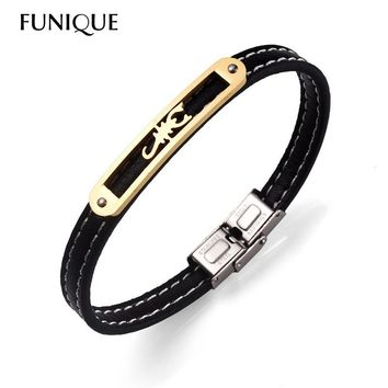 FUNIQUE Classic Style Stainless Steel Jewelry Animal Scorpion Wrap Bracelet Genuine Leather Bracelet New 12 Constellation