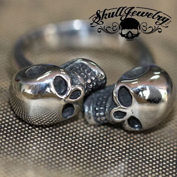 'Double Vision' Stainless Steel Skull Ring (691)