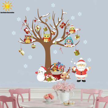 The New Family Of Santa Owl Children's Room Bedroom Wall Stickers Home Decor Christmas Window Sticker