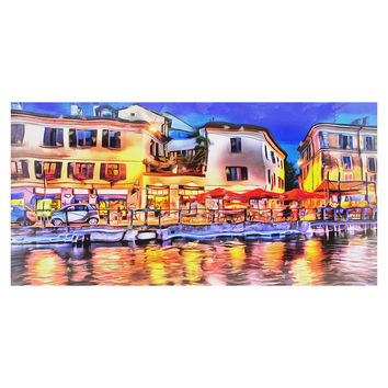 Cafe on the French Riveria Canvas Wall Art Print