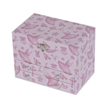 Tory Ballerina Toile Musical Jewelry Box (Pink)
