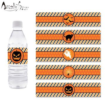 Halloween Party Water Bottle Wrappers Pumpkin Ghost Water Bottle Labels Kids Birthday Party Decorations Supplies Halloween Decor