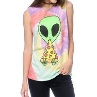 JV By Jac Vanek Pizza Nerd Alien Tie Dye Muscle Tank Top