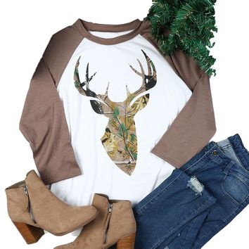 Christmas Camo Deer Antler Head 3/4 Sleeve T-Shirt Top with Mocha/Brown Raglan Sleeve