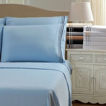 Wrinkle Resistant Embroidered 3-Line Sheet Set with Gift Box   Overstock.com Shopping - The Best Deals on Sheets