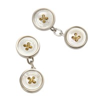 Silver Mother Of Pearl Button Cufflink - Cufflinks - Shoes & Accessories - Shop online