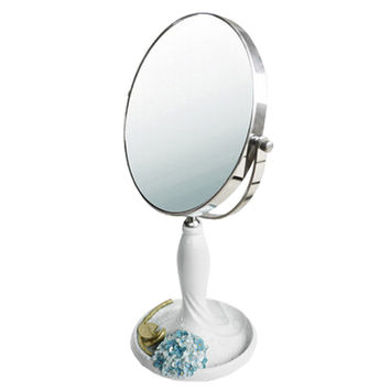 Continental Make-up Mirror 7-Inch Tabletop Two-Sided Cosmetic Mirror White/Blue