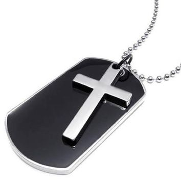 SHIP BY USPS KONOV Army Style Dog Tag Cross Pendant Mens Necklace, Color Black Silver, 27 inch Chain