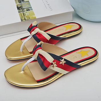 GUCCI Woman Men Casual Fashion Stars Stripe Sandal Slipper Shoes