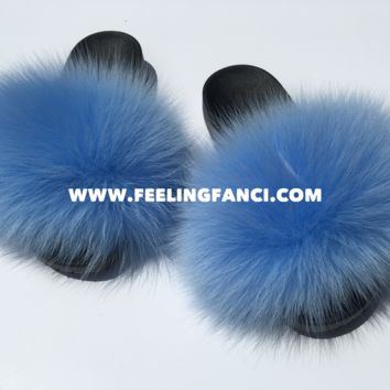 Bali blue fox fur slides