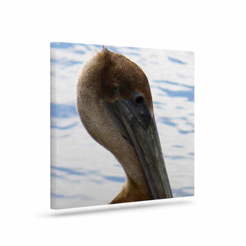 "Philip Brown ""Pelican Waiting"" Blue Photography Canvas Art"