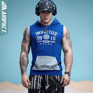 Aimpact Bodybuilding Sleeveless Hoodie Contrast Pocket Fitted Cotton Mens Tank Tops Brand Clothing Sportsuit Casual Male Tops