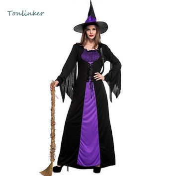Witch Halloween Costumes For Women Festival Party Cosplay Disguise Female Stage Cosplay Dress+Hat Sorceress Party Set