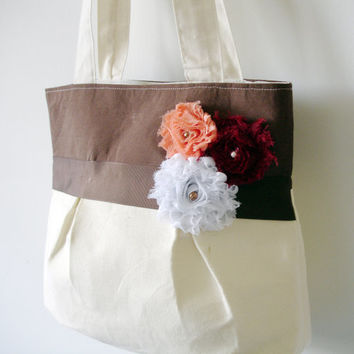 Flower Brown Fashion purse,Tote bag,Handbag