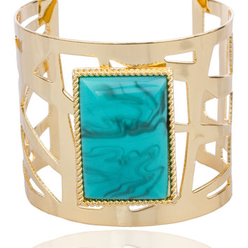 Goldtone Alternating Bar Design with Centered Turquooise Stone Cuff Bangle Bracelet