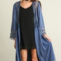Think Of Me Denim Blue Lace Midi Duster Cardigan